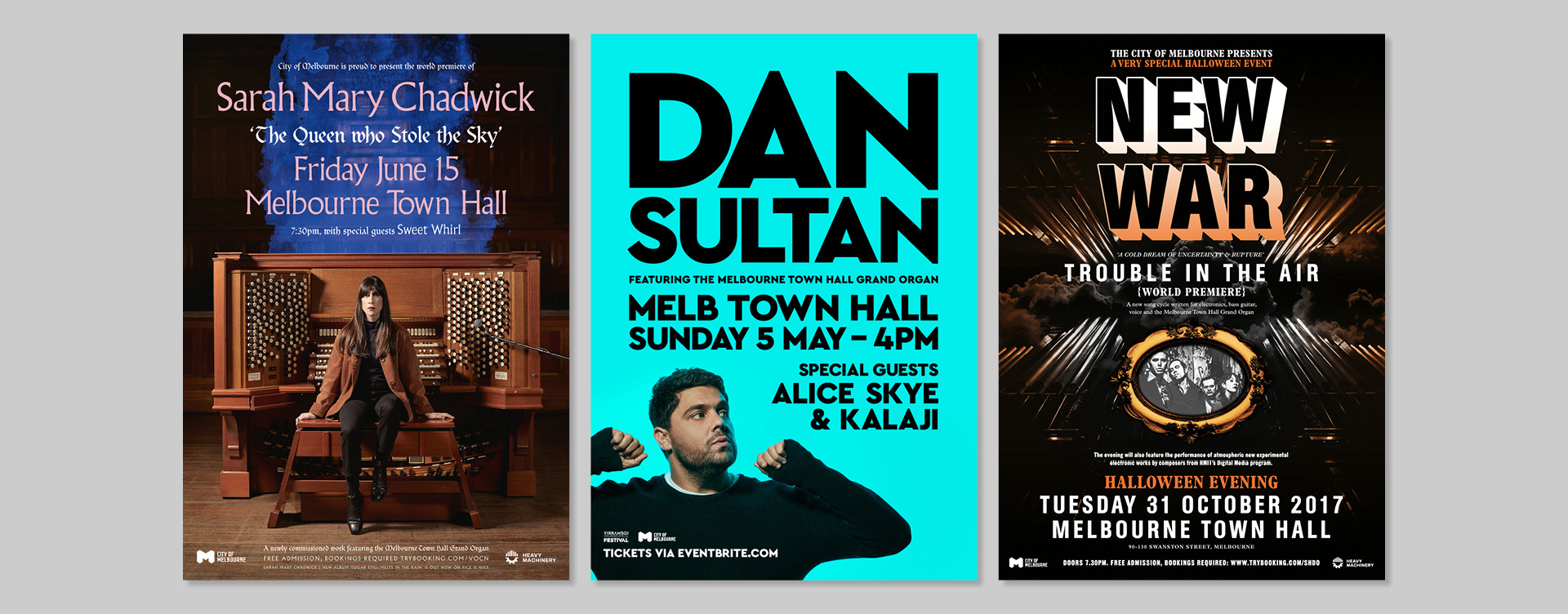 City of Melbourne Grand Organ Marketing Campaign Poster Design Sarah Mary Chadwick Dan Sultan New War Melbourne Town Hall