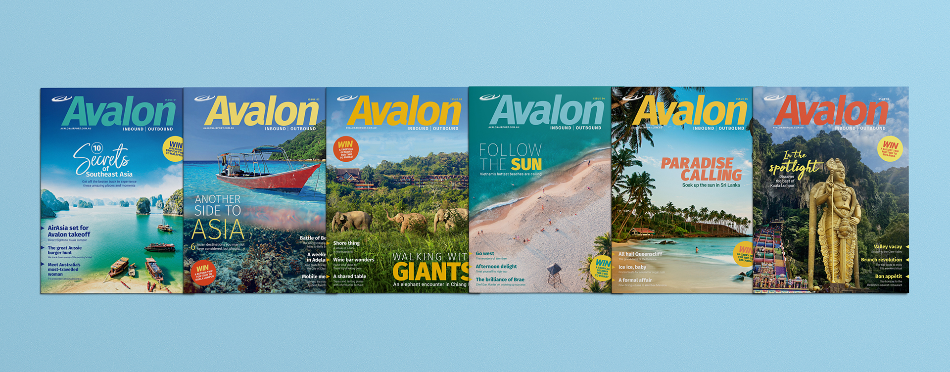 Avalon Inbound Outbound Travel and Lifestyle Magazine covers