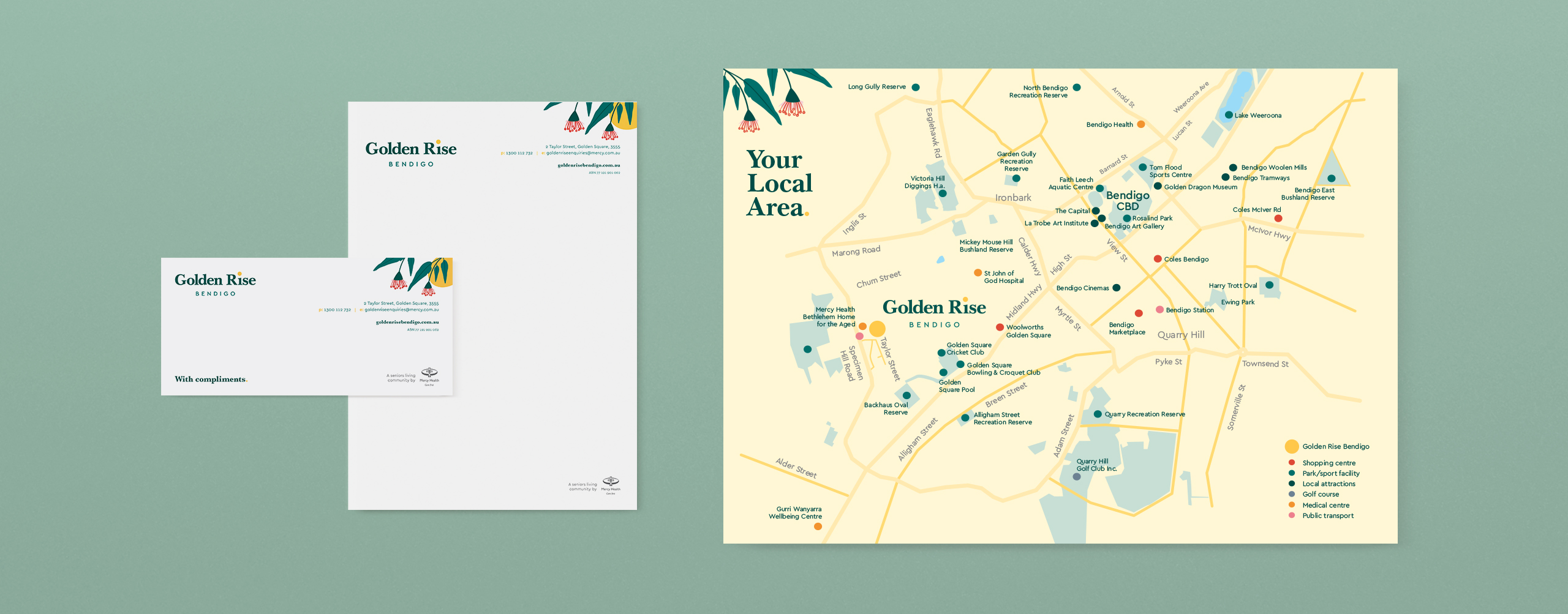 Mercy Health Golden Rise Property Marketing Collateral Stationery Local Area Map
