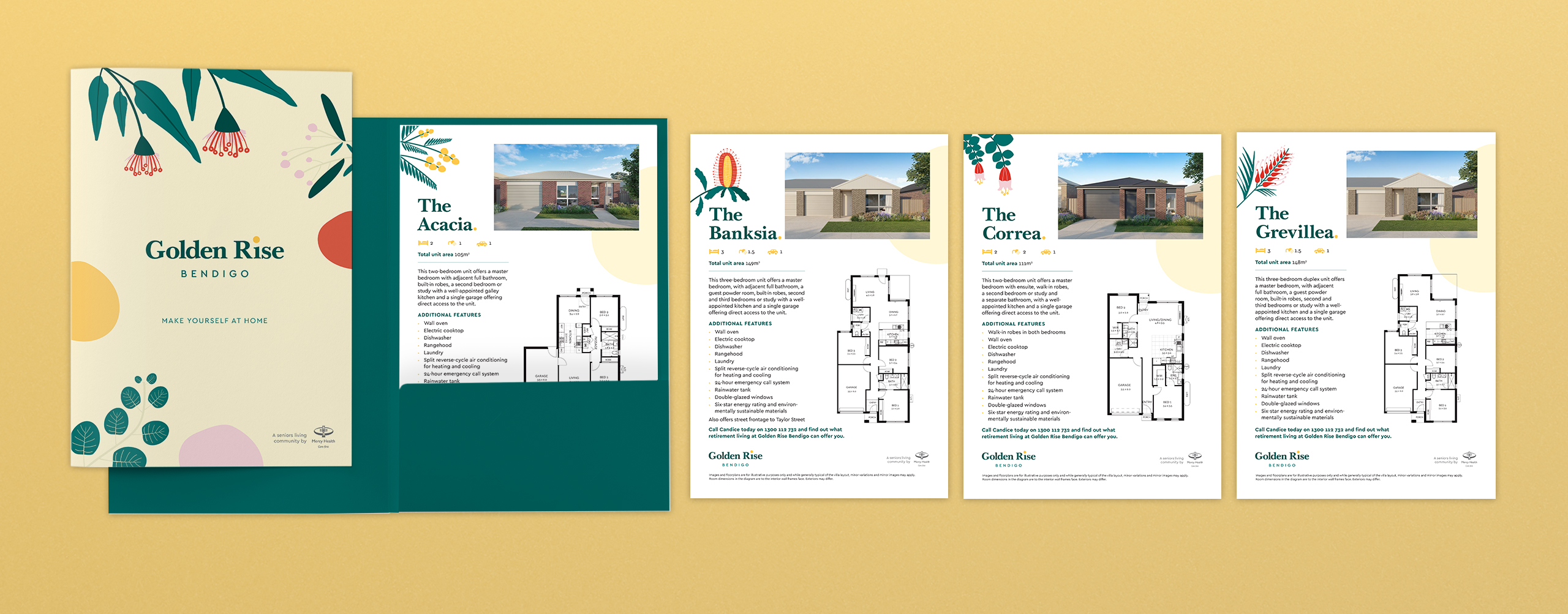 Mercy Health Golden Rise Property Marketing Collateral Sales Folder and Floor plans